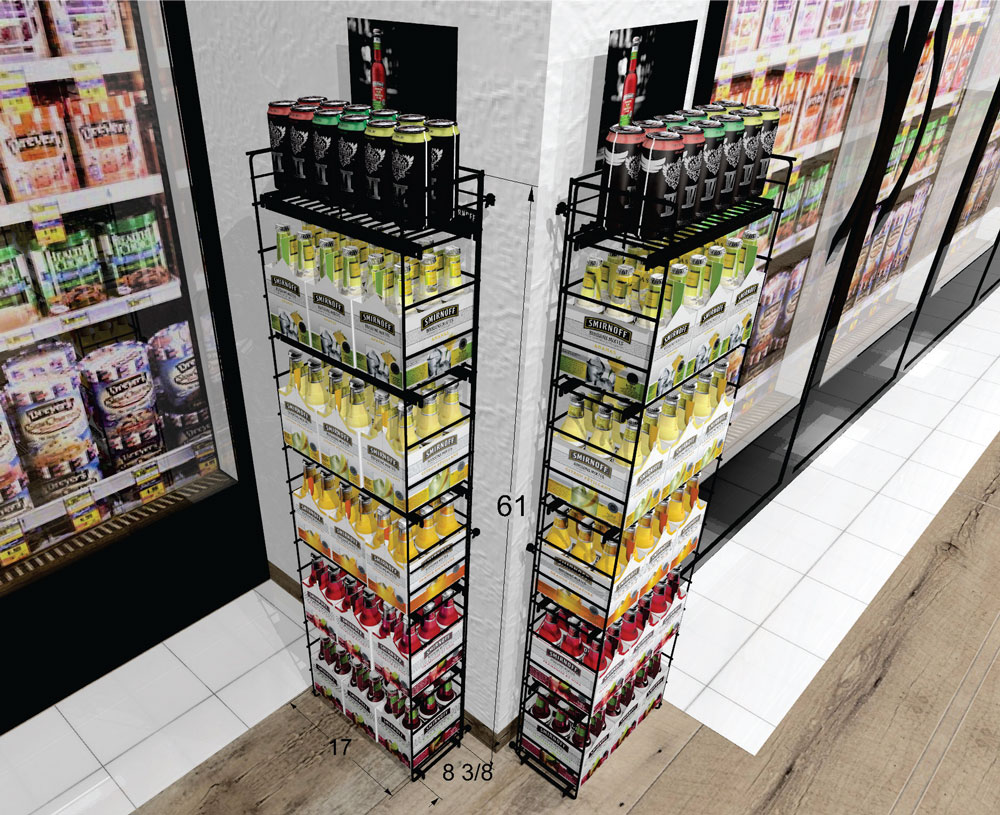 Beer retail pop display rack