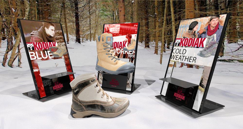 boots, footwear retail pop display rack
