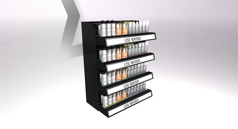 cosmetic product retail pop display rack
