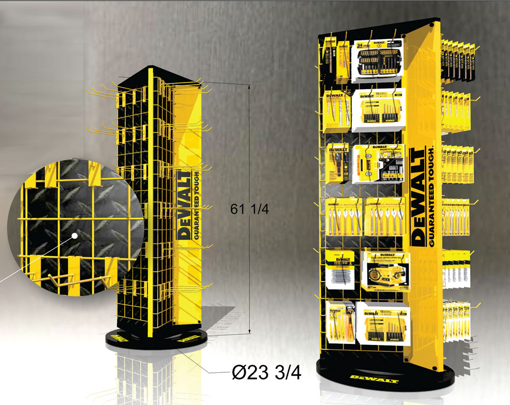 Industrial product, tool, retail pop display rack